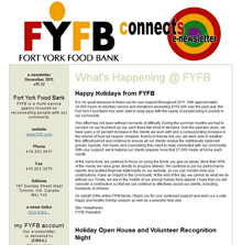 Fort York Food Bank. FYFB is a multi-service agency focused on reconnecting people with our community.